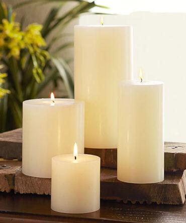 Wax Pillar Candles | Smokeless (White)